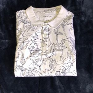 Men's Guess Floral Cotton Polo Tee